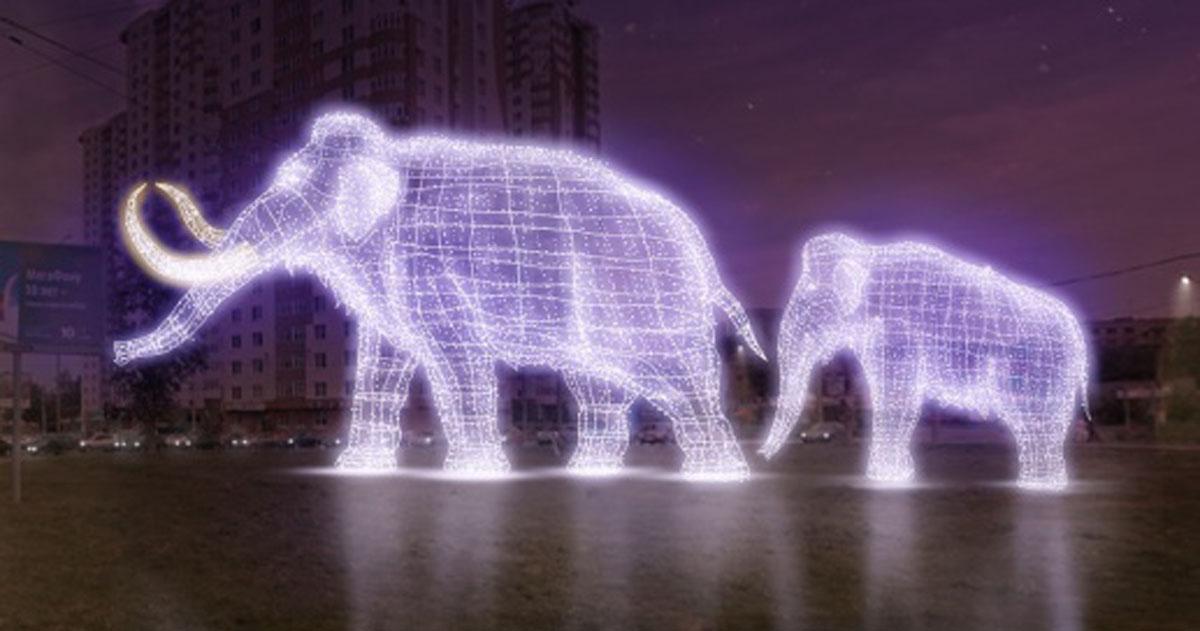 ВПерми кНовому году появятся световые скульптуры мамонта иракеты